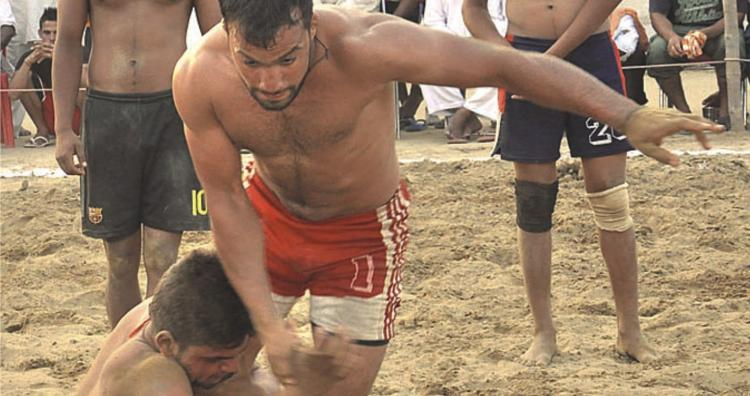 Kabbadi match in  progress at Seechewal Stadium